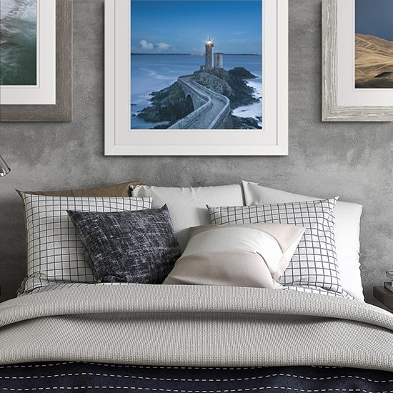 Comtemporary framed poster with lighthouse photo