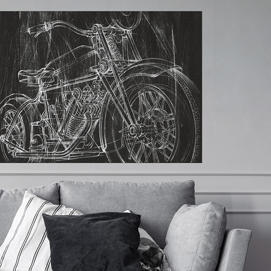 Large printed poster of motorcycle