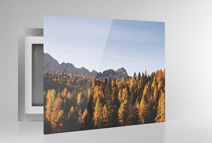 Floating frameless photograph on metal surface